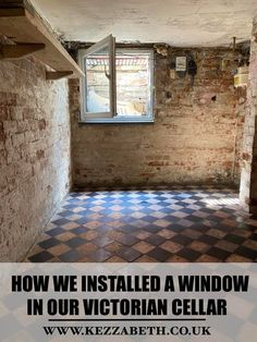 how to fit or install window in a victorian cellar Underground Cellar, Basement Inspiration, Basement Flooring, Tile Floor, Brick, Home And Garden, Victorian, Windows, Modern