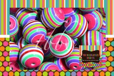 MIXED Color Striped BEADS, Qty 10, 20mm Bead, Chunky Bead, Chunky Necklace, Round Bead, Resin Beads, BUBBLEGUM Beads, Gumball Beads, Stripe