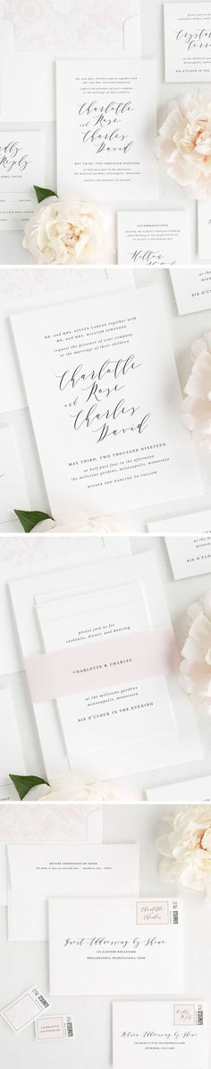 Meet Charlotte, one of our new designs from our 2017 collection. This gorgeous modern calligraphy wedding invitation is perfect for your simple and classic wedding day! Paired with a light pink belly band and floral liner, our Charlotte stationery suite is sure to capture your heart. Customize this wedding invite with your wording and from any of our 40 color options!