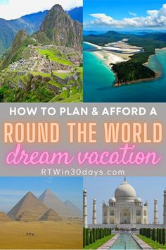 DREAM VACATION ALERT! Ready to tackle your travel Bucket List? Here's everything you need to know to plan an epic Round the World trip. No, you don't have to quit your job Countries Around The World, Travel Around The World, Around The Worlds, Best Solo Travel Destinations, Places To Travel, Vacation Trips, Dream Vacations, Round The World Trip, Viajes