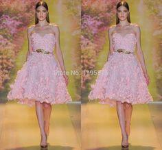 New Designed Pink Evening Dress Sweetheart Short Evening Dresses A Line Zuhair Miurad Runway Sleeveless Vestido De Festa 2015