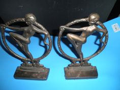 Art Deco Nouveau Metal Nude Lady in Ring Bookends by auntsalsgals, $95.00