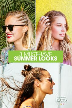 3 must-have products to get these 3 must-have looks: 1) The Summer Side Cornrow. Give your mini-braids shape and hold with Garnier Fructis Curl Spray Gel. Don't forget to add your fav hair jewelry! 2) The Mermaid Braid. Beach Chic Spray is key to create those loose tousled waves. 3) The Double Top Knot. Keep hair frizz-free for days with Sleek & Shine Sleek Primer. It's time to shop!