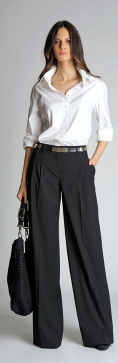 Love this classic outfit, especially the wide leg pants. (Belted wide-leg pants 2012 by St. Office Fashion, Work Fashion, Fashion Advice, Fashion Pants, Fashion Blogs, Fashion Sandals, Mode Outfits, Office Outfits, Office Wear