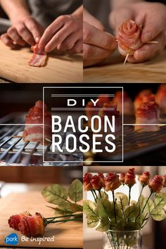 The coolest DIY gift for your Valentine, these bacon roses are pretty easy to assemble and they're sure to help you step up your Valentine's Day game.