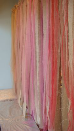 Burlap and Tulle Ceremony Backdrop -w/ white and ivory tulle instead of red and pinks