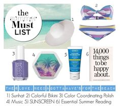 The Summer Must List by istyled on Polyvore featuring polyvore, fashion, style, Lisa Marie Fernandez, Dorfman Pacific, Kiehl's, Essie and clothing
