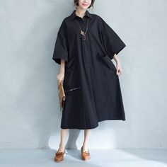 Spring/Summer Loose Polo-Collar Dress