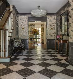 black and white tile entry floors, painted trim, wallpaper, runner, statement chandelier Home Design, Interior Design, Spanish Revival Home, Black And White Marble, Entry Foyer, Entrance Hall, Dutch Door, Los Angeles Homes, Marble Floor
