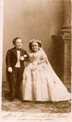 Tom Thumb and His wife on their wedding day