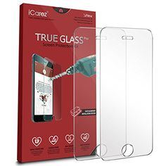 iCarez Tempered Glass Screen Protector for iPhone SE  5S Easy Install  2Pack 033MM 9H 25D with Lifetime Replacement Warranty  Retail Packaging *** Click image for more details.