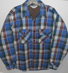 Vintage Five Brother USA Blue Plaid Flannel Quilted Shirt Jacket Men's Large  #FiveBrother #ButtonFront