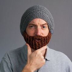 Image of Original Beard Hat (Grey) Awesomely funny gift for any guy on your Christmas list!