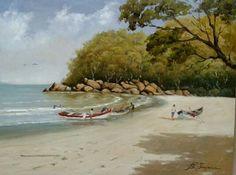 Praia de Ubatuba  S.P. Pintura à óleo  De Ana Paula Campos Teixeira