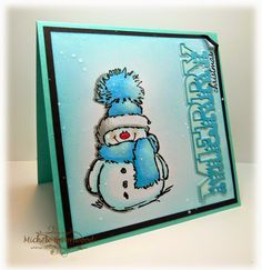 Penny Black's Snowy in Blue by Whimsey - Cards and Paper Crafts at Splitcoaststampers Stamps: Penny Black Snowy, PTI Holiday Button Bits, PTI Double Cuts die Penny Black Cards, Penny Black Stamps, Homemade Christmas Cards, Homemade Cards, Scrapbooking, Scrapbook Cards, Xmas Cards, Holiday Cards, Caspari Christmas Cards