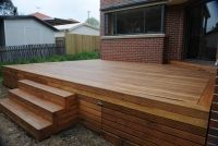 deck stairs with storage, perhaps with build in planters around edge
