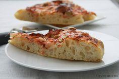 Pizza prosciutto e funghi con lievito madre