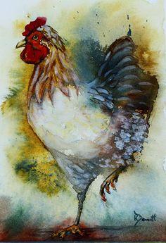 """""""Proud Chicken"""" (watercolour - 21cm x 14.7cm (8.27"""" x 5.79""""))"""