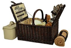 Buckingham Basket for 4 w/ Blanket on OneKingsLane.com Traditional full reed willow handcrafted Picnic basket for four with a rich chocolate brown finish. It has a traditional picnic basket shape and convenient top carry handle. This set includes coordinating melamine plates and cotton napkins, glass wine glasses, stainless steel flatware, and corkscrew.
