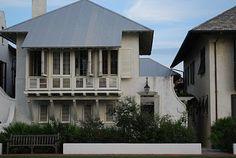 Rosemary Beach House via Vreeland Road (Mcalpine Tankersley Architecture). Facade Design, Exterior Design, Cottage Design, House Design, Pool Houses, Beach Houses, Rosemary Beach, House Elevation, Waterfront Homes