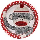 Sock Monkey Red Dinner Plates
