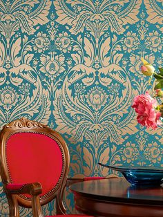 Graham & Brown offers a wide selection of Damask wallpaper and wall coverings for your home. Shop for modern design wallpaper and Damask wall coverings now. Teal And Gold Wallpaper, Green Wallpaper, Beautiful Wallpaper, Living Room Wallpaper Pattern, Demask Wallpaper, Turquoise Wallpaper, Wallpaper Patterns, Perfect Wallpaper, Photo Wallpaper