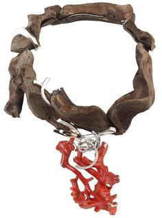 Necklace | Thierry Vendome. 'Roots'.  Tangle of white gold, silver, wood, red coral and diamonds.