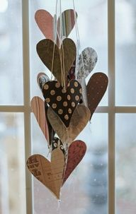 Hanging hearts for Valentine's Day.