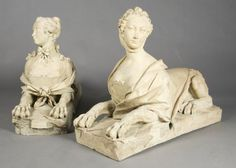 A pair of 18th-century terracotta garden sphinxes, with likeness believed to be of Madame de Pompadour for auction.  NEED not want.