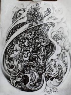 Khmer Tattoo, Thai Tattoo, Arm Tattoo, Dragon Tattoo Full Back, Black Dragon Tattoo, Thailand Tattoo, Thailand Art, Hanuman Tattoo, Cambodian Art