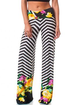 Foldable stretch waistband chevron stripe and floral print palazzo pants. This material will keep you cool all summer long.  $9.95