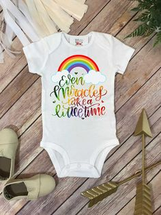 Rainbow Baby, Even Miracles Take a Little Time, Little Miracle, Rainbow Shower Gift, Pregnancy After Loss, Rainbow Baby Gift, Baby Reveal