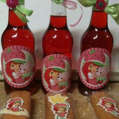 Party favors: soda/juice & strawberry Fig Newtons. We ended up using packaged Little Debbie Strawberry Shortcake Rolls & bottles of Wild Strawberry Color Coolerz.