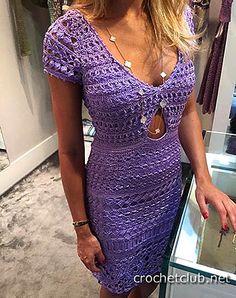 Вязаное крючком платье-футляр Giovana Dias. Схемы узоров и авторское описание вязания Beleza