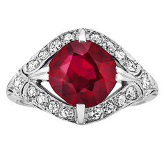 Art Deco Burma Ruby And Diamond Ring | From a unique collection of vintage more rings at https://www.1stdibs.com/jewelry/rings/more-rings/