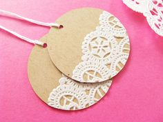 Items similar to ON SALE - Vintage Doilies Gift Tags - Set of 20 on etsy but could make something similar tho. Easy Gifts, Homemade Gifts, Arts And Crafts, Paper Crafts, Diy Crafts, Noel Christmas, Christmas Crafts, Paper Doilies, Paper Tags