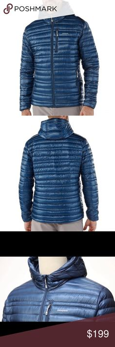 """Patagonia Ultra Lightweight Down Hoody Originally $349. NWOT. Perfect condition. It comes with its own """"stuff sack"""" that doubles as a pillow for camping trips. """"So light. So warm. The Ultralight Down Hoody combines 800-fill-power Traceable Down (goose down traced from parent farm to apparel factory to help ensure the birds that supply it are not force-fed or live-plucked) with a superlight 15-denier 100% nylon Pertex Quantum® shell for a lightweight, toasty-warm down jacket."""" (Patagonia)…"""