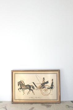 Vintage framed wall art copper horse and carriage by MossAndBerry, $12.00