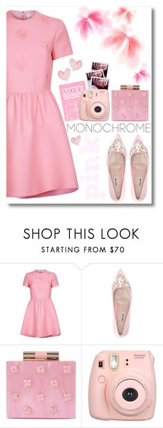 """""""Color Me Pretty: Head-to-Toe Pink"""" by fashiondiaryy ❤ liked on Polyvore featuring Valentino, Miu Miu, Polaroid, Katherine Kwei, Fujifilm and Shabby Chic"""