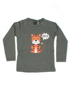 Legergroen longsleeve shirt met tijger - Ej Sikke Lej
