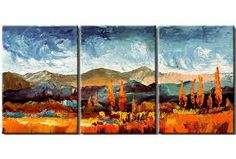 Resultado de imagen de imagenes de paisajes de montañas al oleo