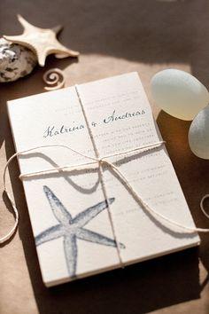 Caribbean starfish wedding invitations by Magpie Paper Works navy beach wedding theme