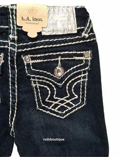 LA Idol Size 8, Girls / Kids Skinny Jeans Bling Jewel Pocket K1208NR NWT #LAIdol #SlimSkinny #Everyday