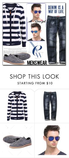 """""""Striped Hoodie by Rosegal 22/I"""" by esma178 ❤ liked on Polyvore featuring men's fashion and menswear"""