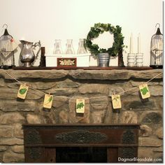 DIY Vintage Seed Packets Banner. Dagmar's Home. DagmarBleasdale.com #DIY #vintage #banner #seeds #seedpackets #fireplace #fieldstones #cottage #decor #mantel