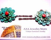 Genuine Hand Made Heishe Beads & Coral Hair Barrettes - Semi-precious Gemstones by AAAJEWELRYSTORE on Etsy, $17.99 USD