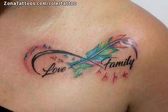 Tatuaje de Plumas, Infinitos, Familia Tiger Head Tattoo, Head Tattoos, Mom Tattoos, Feather Tattoos, Small Tattoos, Infinity Tattoo Designs, Family Tattoo Designs, Infinity Tattoos, Family Tattoos