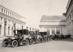 A line of taxis parked in front of Union Station. Washington DC, 1914
