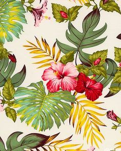 tropical print with hibiscus flower and monsteria leaves Motifs Textiles, Textile Patterns, Flower Patterns, Print Patterns, Motif Tropical, Tropical Pattern, Tropical Flowers, Tropical Prints, Hawaiian Pattern