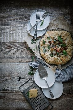 heirloom tomato galette + lemon balm almond pesto & chevre